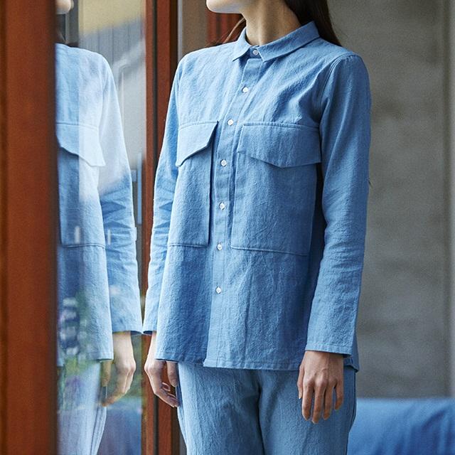 節織中紺パンツ3